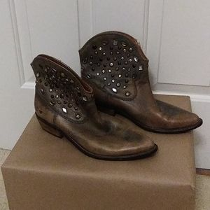 Lucky Brand vintage brown boots with metal studs